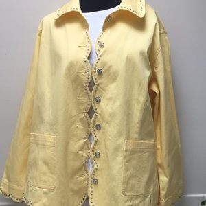 Studded yellow Quacker Factory jacket 1X bling